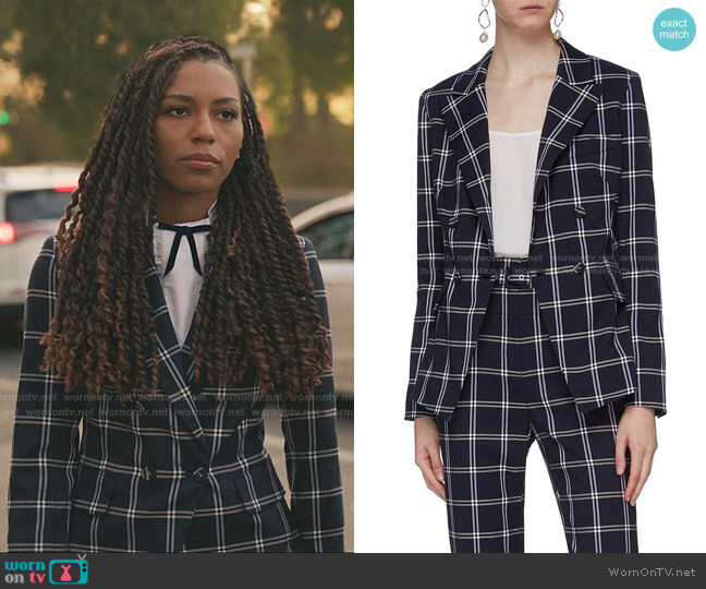 Double-Breasted Checked Twill Blazer by Jonathan Simkhai worn by Monet de Haan (Savannah Lee Smith) on Gossip Girl