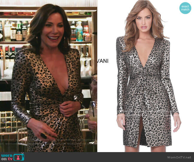 Metallic Animal Print Dress by Jovani worn by Luann de Lesseps  on The Real Housewives of New York City