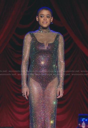Julien's crystal mesh maxi dress on Gossip Girl