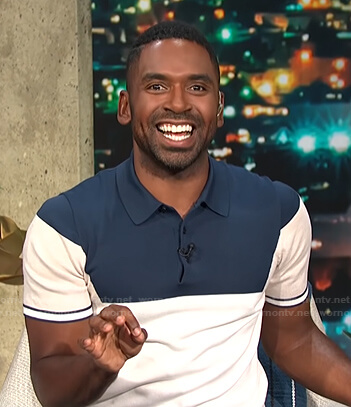 Justin's navy colorblock polo shirt on E! News Daily Pop