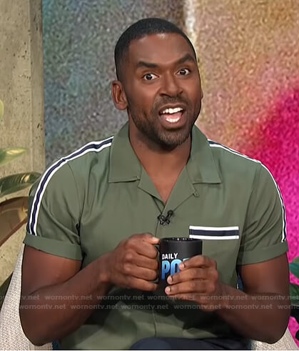 Justin's green striped shoulder shirt on E! News Daily Pop