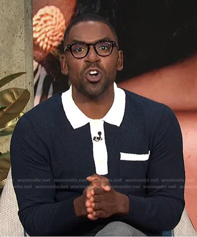 Justin's navy long sleeve polo shirt on E! News Daily Pop