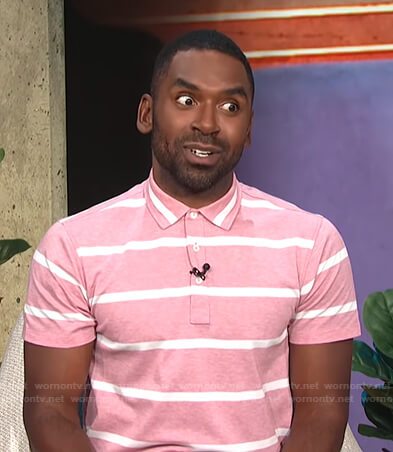 Justin's pink striped polo shirt on E! News Daily Pop