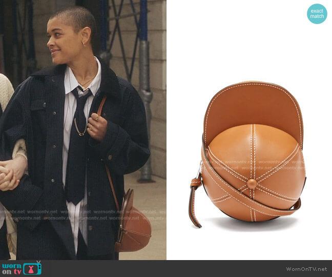 Cap Leather Cross-Body Bag by JW Anderson worn by Julien Calloway (Jordan Alexander) on Gossip Girl