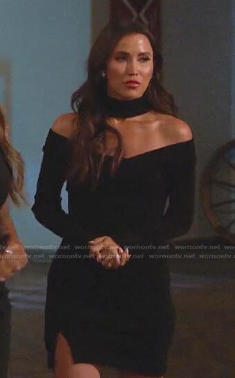 Kaitlyn Bristowe's black off-shoulder dress on The Bachelorette