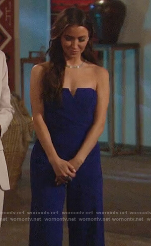 Kaitlyn Bristowe's blue strapless jumpsuit on The Bachelorette