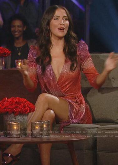 Kaitlyn Bristowe's pink metallic ruffle dress  on The Bachelorette
