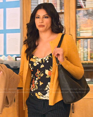 Kamala's black floral print camisole on Never Have I Ever