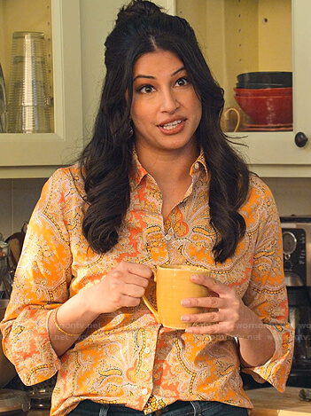 Kamala's yellow paisley print blouse on Never Have I Ever