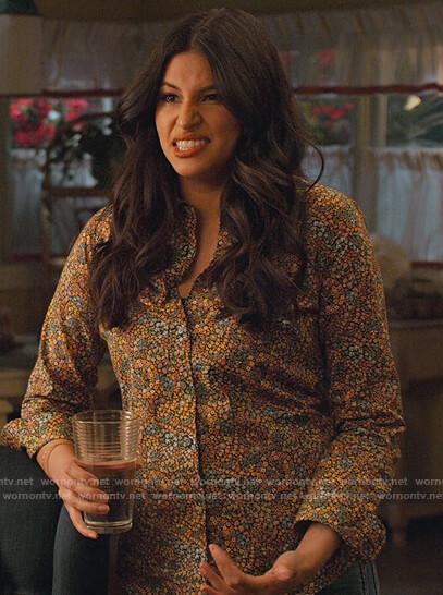 Kamala's floral printed shirt on Never Have I Ever