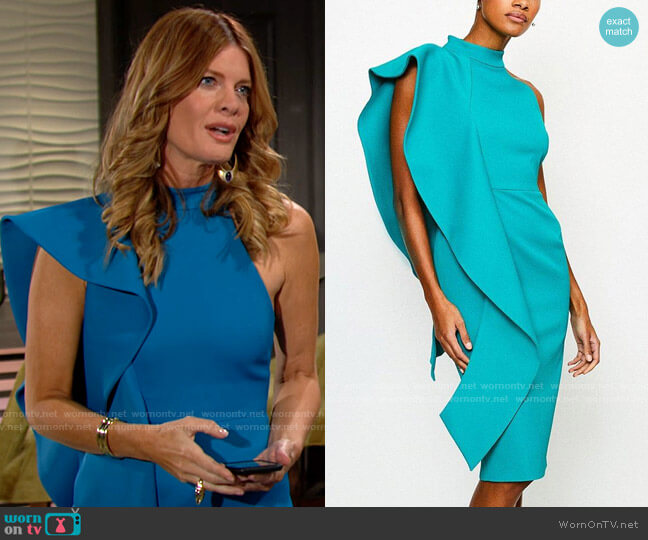 Karen Millen Italian Structured Rib Frill Dress worn by Phyllis Summers (Michelle Stafford) on The Young & the Restless