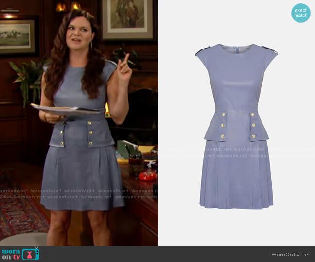Karen Millen Leather Epaulette Military Button Pleat Dress worn by Katie Logan (Heather Tom) on The Bold & the Beautiful