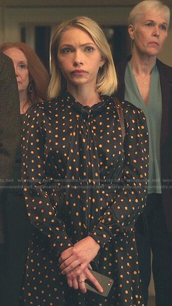 Kate's black and orange polka dot tie neck dress on Gossip Girl
