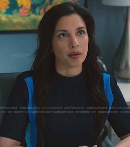 Dr. Ivy Turcotte's blue printed shirt on Nurses