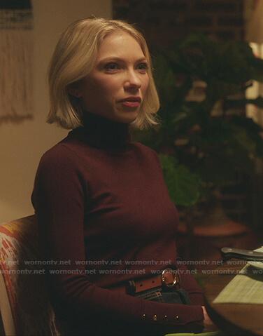 Kate's burgundy button cuff sweater on Gossip Girl