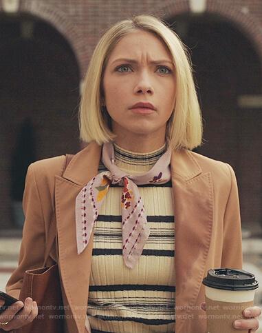 Kate's striped ribbed mock neck top on Gossip Girl