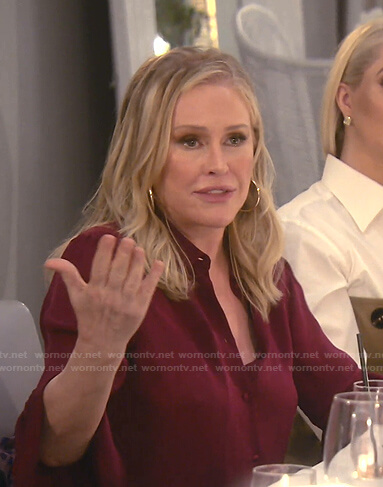 Kathy's burgundy three quarter sleeve blouse on The Real Housewives of Beverly Hills
