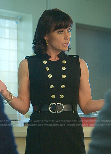 Kathleen's black sleeveless military dress on Good Trouble