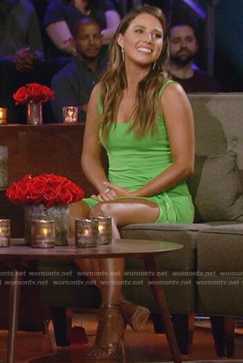 Katie's green tie waist sleeveless dress on The Bachelorette