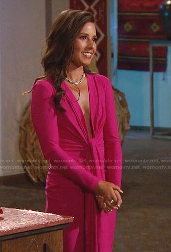 Katie's black one-shoulder leather dress on The Bachelorette