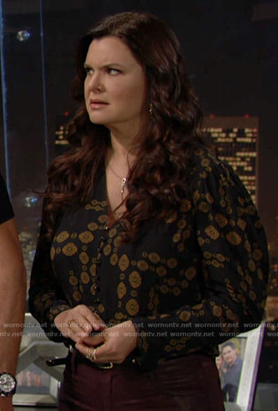 Katie's printed button down blouse on The Bold and the Beautiful