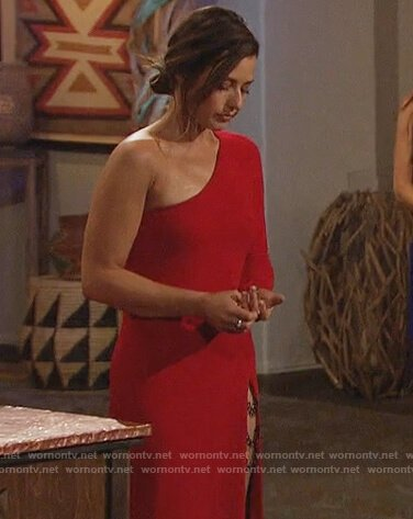 Katie's red latex dress on The Bachelorette