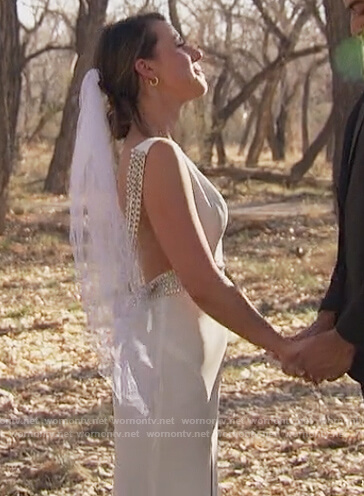 Katie's gold embellished strapless jumpsuit on The Bachelorette