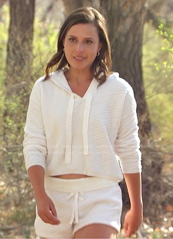 Katie's white drawstring hoodie and shorts on The Bachelorette