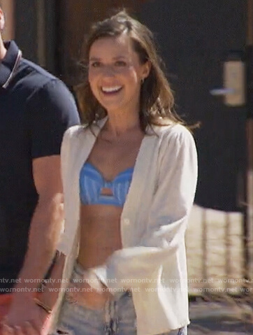 Katie's blue stripe bikini top and white cardigan on The Bachelorette