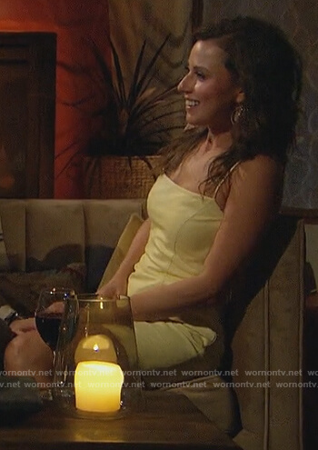 Katie's yellow mini leather dress on The Bachelorette