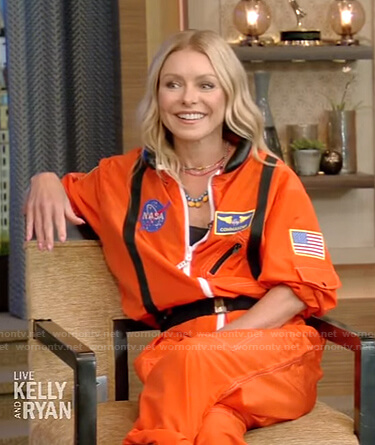 Kelly's orange astronaut jumpsuit on Live with Kelly and Ryan