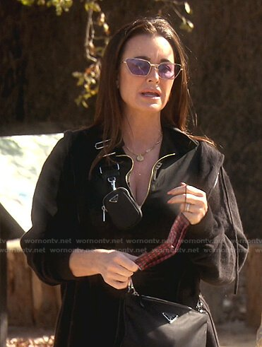 Kyle's purple sunglasses and black crossbody bag on The Real Housewives of Beverly Hills