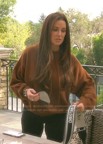 Kyle's brown knit hoodie on The Real Housewives of Beverly Hills