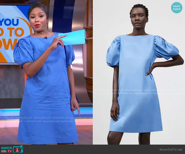 Hattie Dress in Bluebell by Lafayette 148 New York worn by Alicia Quarles on GMA