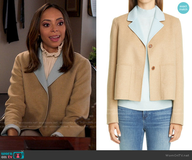 Lafayette 148 New York Reversible Andover Jacket worn by Whitney Green (Amber Stevens West) on Run the World