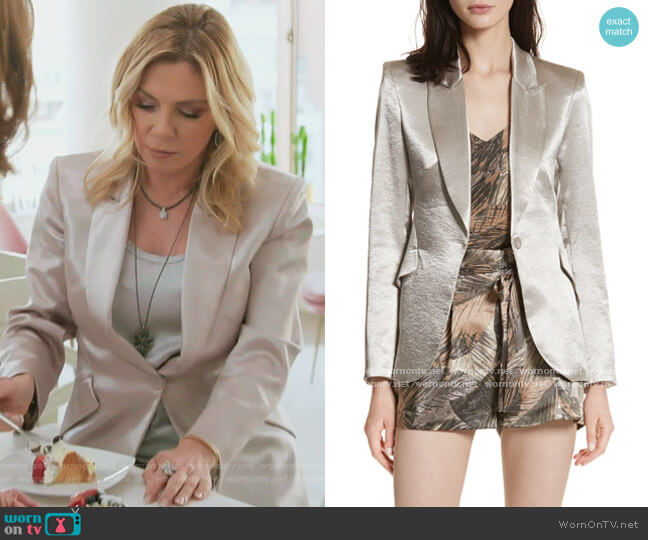Chamberlain Metallic Blazer by L'Agence worn by Ramona Singer  on The Real Housewives of New York City