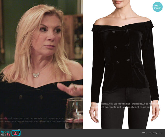 Stephan Double-Breasted Off-The-Shoulder Jacket by L'Agence worn by Ramona Singer  on The Real Housewives of New York City