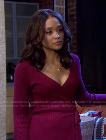 Lani's burgundy ribbed wrap dress on Days of our Lives