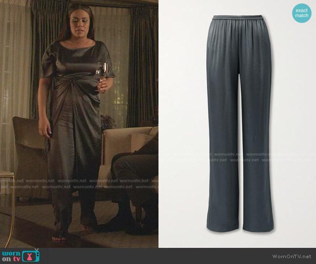 Duchesse-Satin Wide-Leg Pants by Lapointe worn by Cristal Jennings (Daniella Alonso) on Dynasty