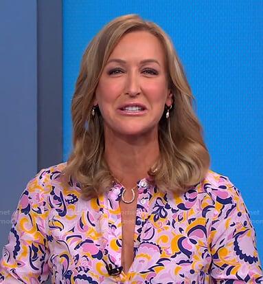 Lara's pink floral shirt on Good Morning America
