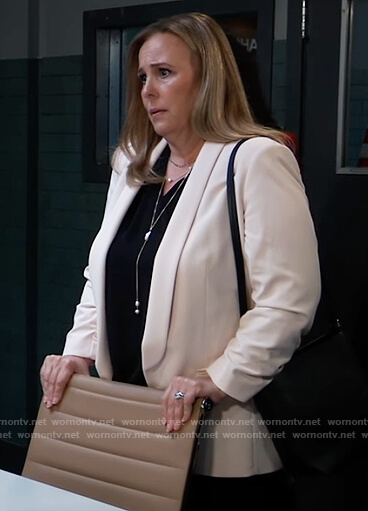Laura's pink ruched sleeve blazer on General Hospital