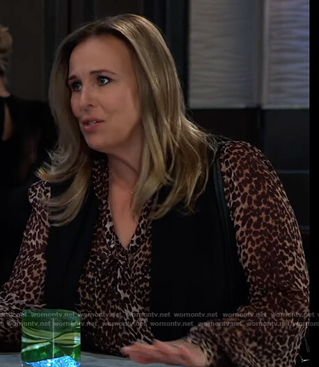 Laura's leopard print blouse on General Hospital