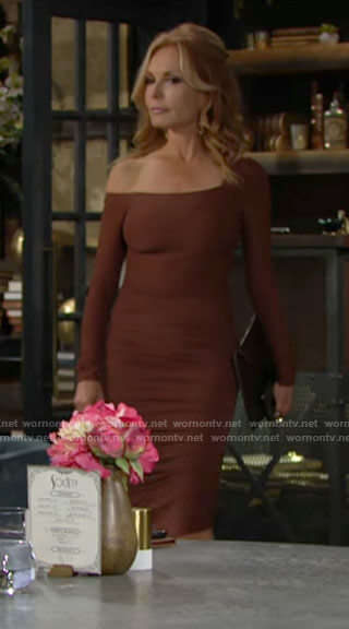 Lauren's brown asymmetrical dress on The Young and the Restless