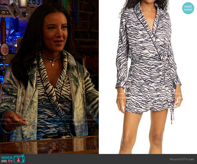 Le Superbe Sunset Marquis Zebra Print Romper worn by Maria DeLuca (Heather Hemmens) on Roswell New Mexico
