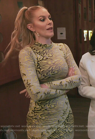 Leah's yellow printed mesh dress on The Real Housewives of New York City