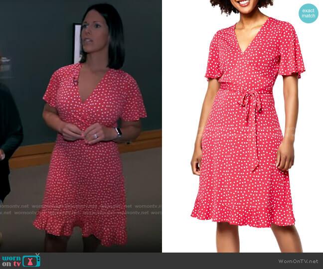 Leota Hayley Dress in Confetti Dot Raspberry worn by Dana Jacobson  on CBS Mornings