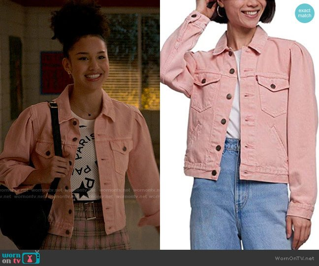 Levis Original Puff Sleeve Trucker Jacket worn by Gina (Sofia Wylie) on High School Musical The Musical The Series