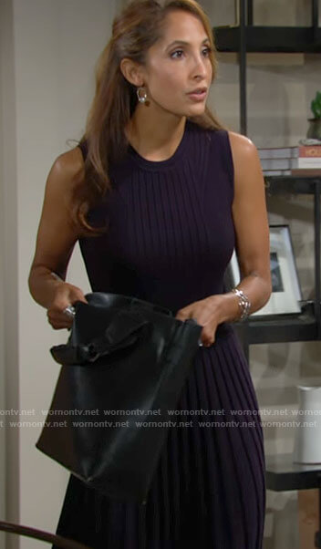 Lily's navy sleeveless ribbed dress on The Young and the Restless