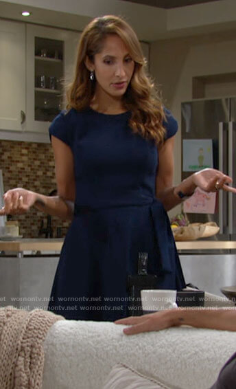 Lily's navy blue tie waist dress on The Young and the Restless
