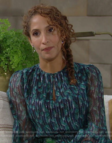 Lily's teal printed dress with metallic stripes on The Young and the Restless